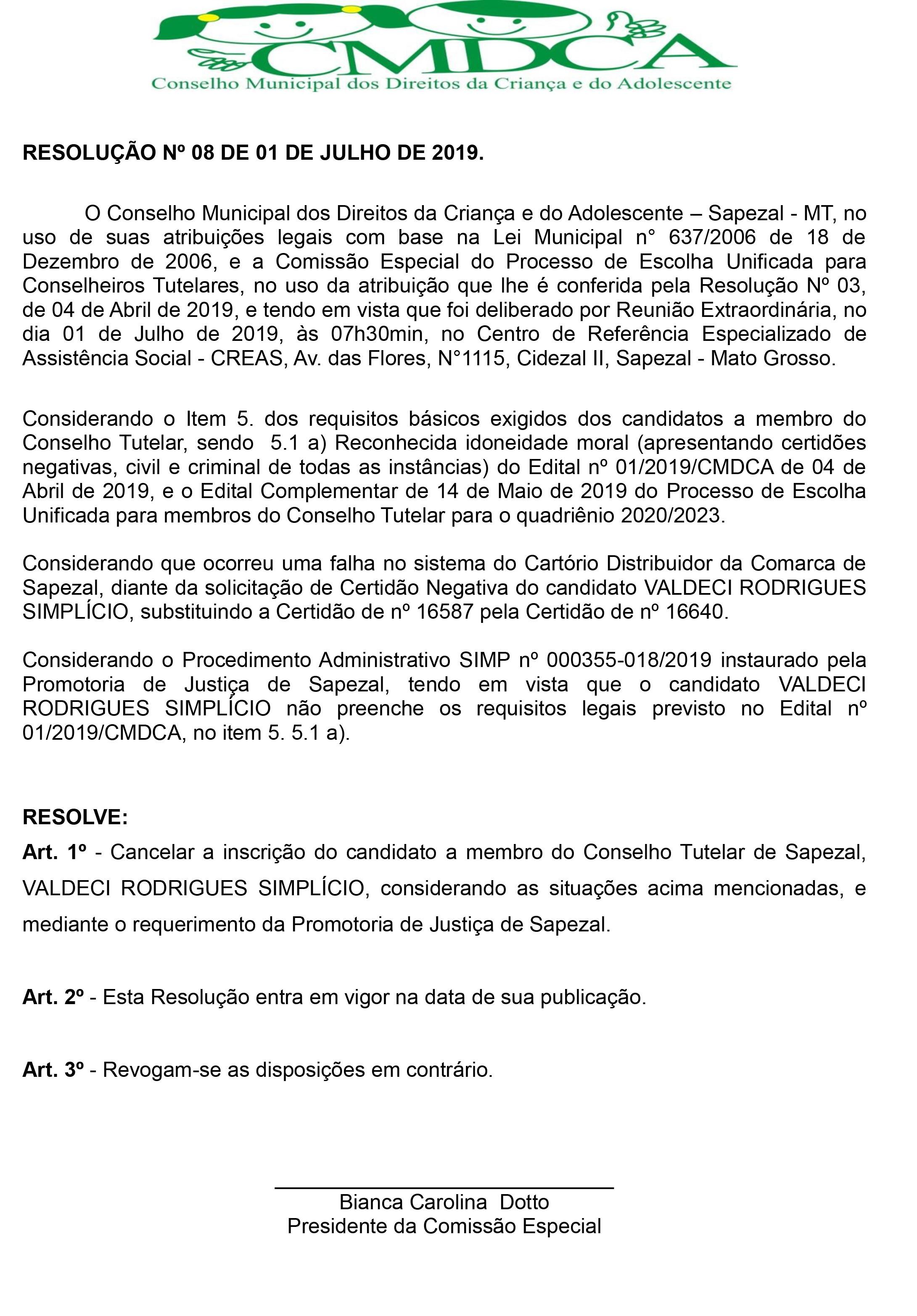 RESOLUÇÃO Nº 08 - 2019