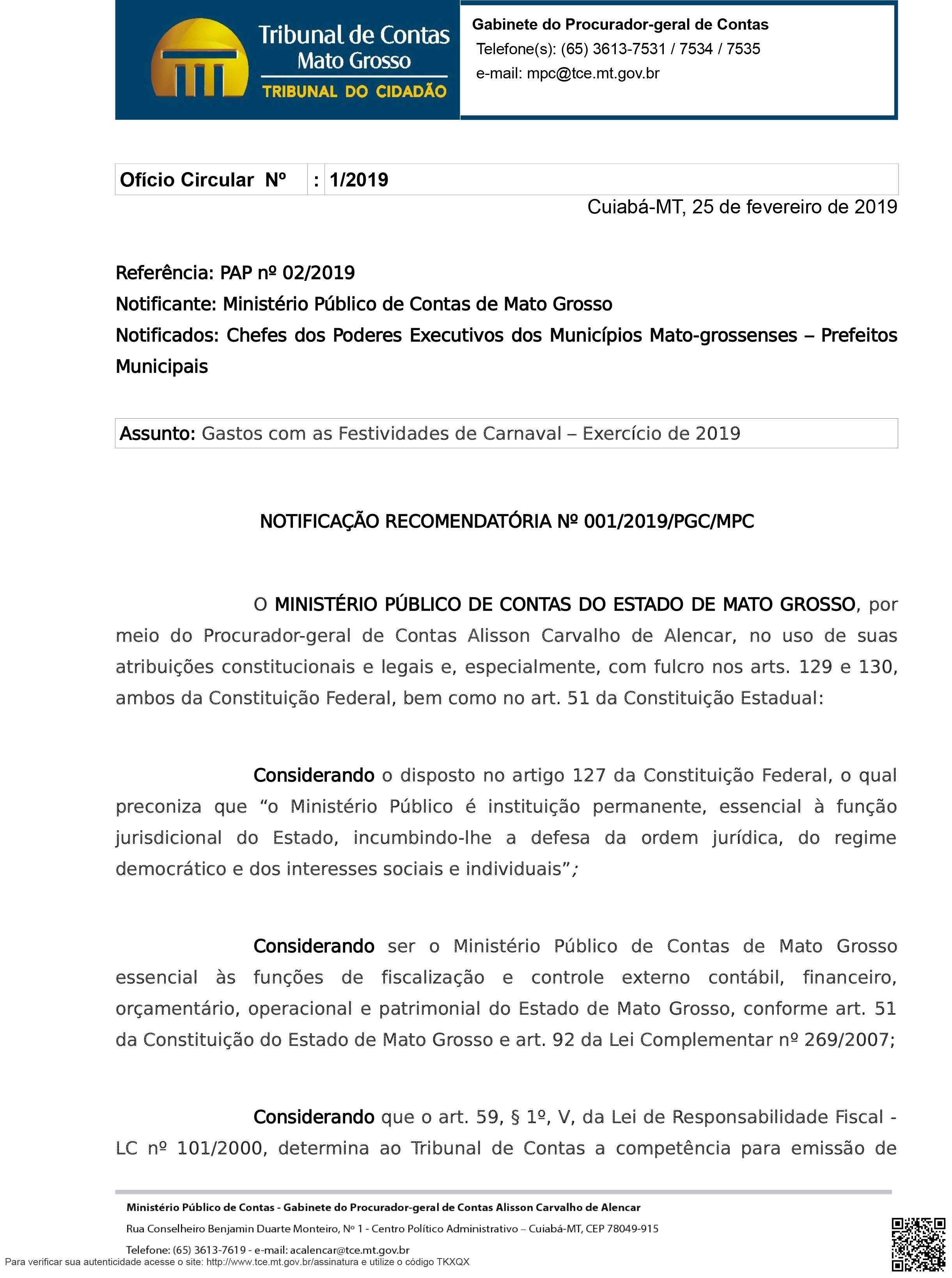 OFÍCIO CIRCULAR 01-2019 FESTIVIDADES DE CARNAVAL-1